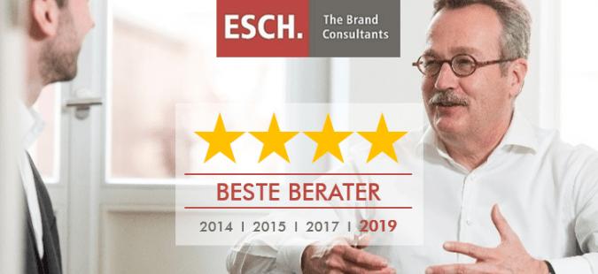 ESCH. zum vierten Mal als Top-Unternehmensberatung für Marketing, Marke und Preis ausgezeichnet