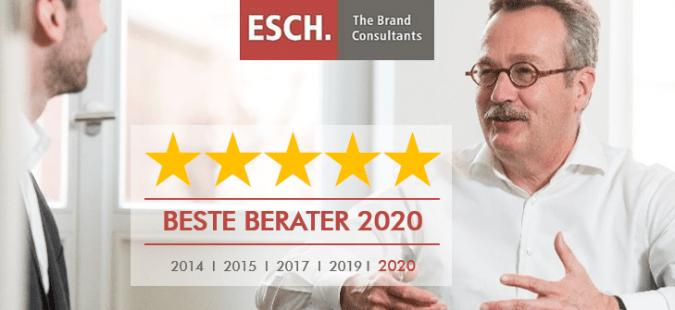 ESCH. zum fünften Mal als Top-Unternehmensberatung für Marketing, Marke und Preis ausgezeichnet